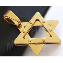 Pingente Masculino Em Aço Inox316l Estrela De Davi Cor: Ouro