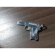 Pingente Arma Pistola De Aço E Gatilho Em Ouro