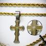Crucifixo Cruz Pai Nosso Aço Dourado Corrente Masc. Ou Fem.