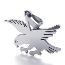 Pingente Masculino Águia Eagle 100% Aço Inox 316l Prata