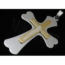Pingente Masculino Crucifixo C/ Imagem Jesus Cristo Aço Inox