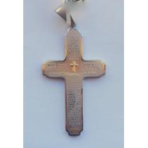 Pingente Aço Inox Cruz Em Ouro Crucifixo Oração Pai Nosso