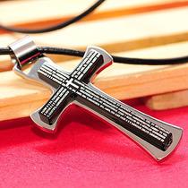 Pingente Cruz Crucifixo C/ Oração ( Pai Nosso ) Aço Inox