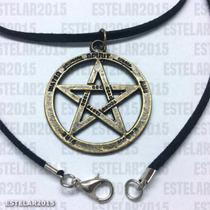 Colar Camurça + Pentagrama Estrela Metal Salomão Wicca