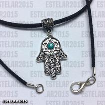 Colar Camurça Hamsá Mão Santa Deus Fátima Amuleto Estrela