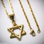 Estrela Davi Hexagrama Salomão Aço Dourado Corrente + Ping