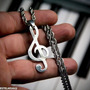 Clave De Sol Nota Musical Músico Aço Prateado Ping + Corr
