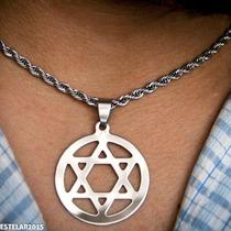 Estrela Davi Hexagrama Salomão Aço Prateado Corrente + Ping