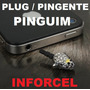 Plug Piercing Pingente P2 3,5mm - Pinguim - Iphone Galaxy Lg