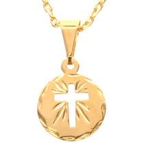Pingente Cruz Medalha Pequeno Vazado Raios Folheado Ouro 18k