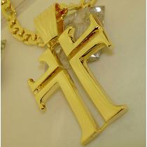 Cruz Guerreiro Templário Banhado Ouro 18k Ojoalheiro