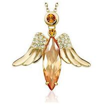 Pingente Feminino Folheada A Ouro Rosê 18k Com Pedra Mel