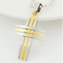 Colar Crucifixo Masculino Aço Inoxidável Folheado Em Ouro