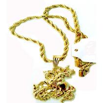 Linda Cordão Banhada A Ouro Com Pingente São Jorge 55 Cm