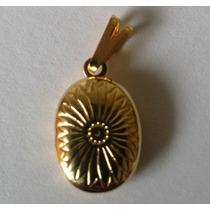 Pingente Relicário Para Guardar Foto Folheado A Ouro 24 K
