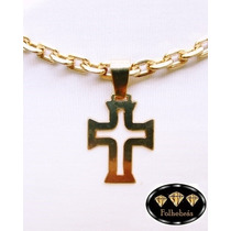 Crucifixo Vasco Vazado Médio Banhado A Ouro 18k