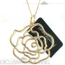 Rommanel Pingente Formato Rosa 3cm Folheado Ouro 18k 541211