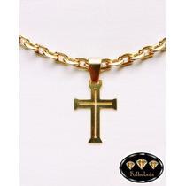 Crucifixo Fino Vazado Médio Banhado A Ouro 18k