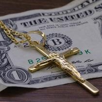 Pingente Cruz Crucifixo Grande Folheado Ouro 18k Diferente 1