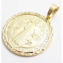 Medalha São Bento Diamantado Folheado A Ouro Frete Grátis
