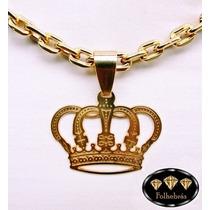 Pingente Coroa Vazada Grande Banhada A Ouro 18k