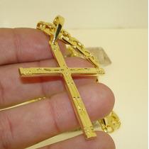Crucifixo Cruz Nossa Senhora De Aprecida Banhado Ouro 18k