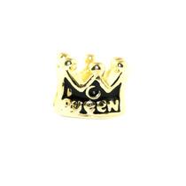 Berloque Charm Coroa Rainha Esmaltado Folheado A Ouro 18k...