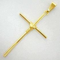 Pingente Crusifixo Palito Cruz 45mm Folheado A Ouro 18k