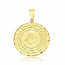 Pingente Medalha Oração São Francisco Folheada A Ouro 18k.