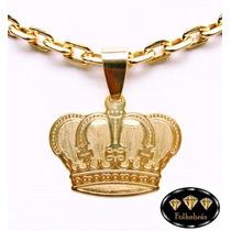 Pingente Coroa Rebaixada Grande Banhada A Ouro 18k