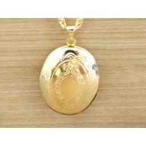 Colar 50cm Pingente Relicário Oval P/ 2 Fotos Folheado Ouro