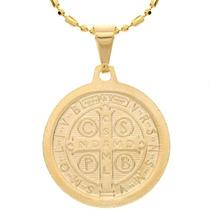 Pingente São Bento 2.3cm Medalha Folheado Ouro 18k Classico