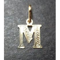 Pingente Letra M = Pequeno = Folheado A Ouro 18k
