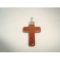 Pingente Cruz Crucifixo Colar Metal Prateado Pedra Do Sol