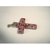 Pingente Cruz Crucifixo Colar Metal Prateado Pedra Jaspe