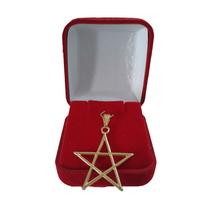 Colar Pingente Dourado Pentagrama Vazado Sem Círculo 30mm