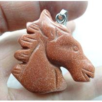 Pingente Cavalo 15,7gr Esculpido Em Pedra Do Sol - J1683