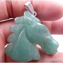 Pingente Cavalo 17gr Esculpido Em Agata Verde Natural J1769