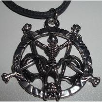 Pingente Pentagrama Com Caveira C/cordão