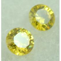 2.5 Cts Par De Pedra Em Safira Amarela Redonda Vvs