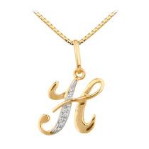 Pingente Letra H Em Ouro 18 Quilate E Diamantes