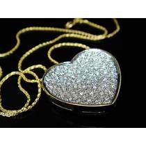 Pingente Coração + Cordão Em Ouro 18 Quilate E Diamantes