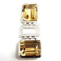 Pingente Smokey Quartzo Natural Com Brilhantes Ouro Branco