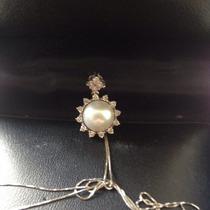 Conjunto Em Ouro Branco 18k, Pérola Verdadeira Com Diamantes