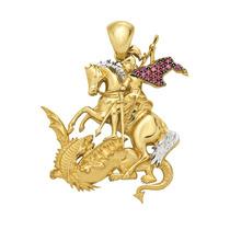 Pingente São Jorge Em Ouro 18k (750) Com Rubi.
