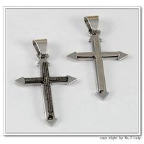 Colar Crucifixo Salmo Gravado - Aço Inoxidável + Corrente