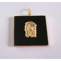 Pingente Face De Cristo Em Ouro 18k - E Pedra Ônix