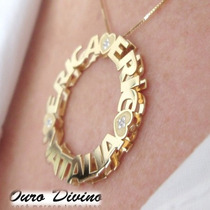 Mandala De Ouro 18k Pingente Com Nome E Desenho Promoção