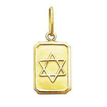 Pingente Estrela De Davi Retangular Em Ouro 18k Certificado
