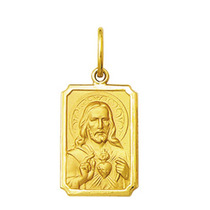 Pingente Medalha Coração De Jesus Ouro 18k Pequeno